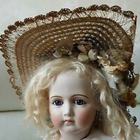 Awesome ANTIQUE FASHION doll STRAW hat 1900s
