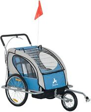 Elite 2-In-1 Double Child Two-Wheel Bicycle Cargo Trailer And Jogger With 2 Safe