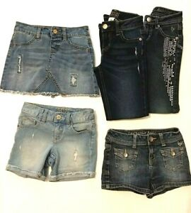 Justice Girls 7-8 Regular Lot of 5 Blue Denim Distressed Jeans Skirt & Shorts
