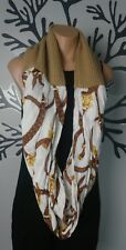 Ralph Lauren Infinity scarf Gold Brown Ivory  Equestrian print