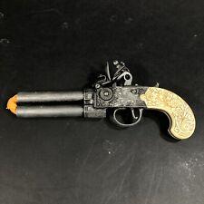 Vintage Flintlock Pewter Metal Cap Gun with Carved Handle Made in London