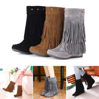Womens Ladies Suede Mid Calf Boots Flat Pull On Knee Long Ladies Slouch Boots