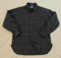 Vintage Pendleton Country Traditionals Gray Red Blue Plaid Wool Shirt Mens XL