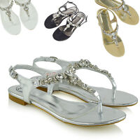 Womens Flat Sandals Toe Post T-Bar Ladies Gem Diamante Brooch Holiday Shoes Size