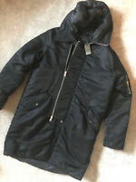"ALL SAINTS BLACK ""ASON"" ITALIAN CLOTH PARKA COAT JACKET - SMALL - NEW & TAGS"