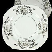 Gold Coast China Japan 4 Porcelain Square Salad Plates Platinum Trim EUC