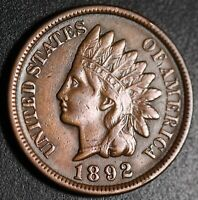 1892 INDIAN HEAD CENT -With LIBERTY & DIAMONDS - XF EF+