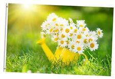 Spring Summer Floral Daisies Flower Green Grass Farm Sunrise 3x5 Feet Flag, Pol