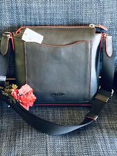 Coach Beckett Pocket Leather Cross body Navy Red Piping NWT