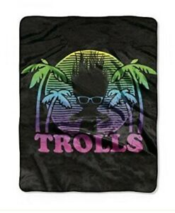 Trolls 'Dark Shade' Silk Touch Throw Blanket 50x60 New