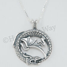 DRAGON eating TAIL serpent charm Ouroboros Pendant Necklace 925 Sterling Silver