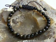 Delicate Men's bracelet natural gemstone all 6mm gold Obsidian beads