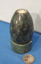 Victorian Style Egg Shaped Kaleidoscope ~ Brass + Green & Gray Variegated Marble