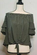 Paradiso Olive Green White Top Small Polka Dot Off Shoulder Tiered Sleeve Tie