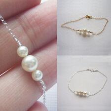 Fashion Women Pearl Bracelet Bangle Thin Chain Wedding Mother's Day Family Gift
