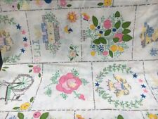 """Vintage Sheet Flat Bed Sheet 80""""X 96"""" Double Cotton fabric floral patterns VGC"""