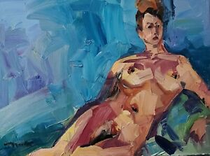 JOSE TRUJILLO Oil Painting IMPRESSIONISM LARGE 18X24 NUDE WOMAN EXPRESSIONISM
