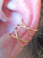Doble Criss Cross EAR CUFF clip on Handmade non piercing Earcuff Gold Silver UK