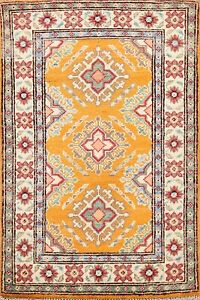 Geometric Super Kazak Oriental Area Rug Vegetable Dye Handmade Wool 2'x3' Carpet