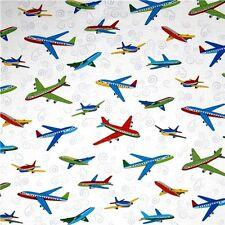 City Construction Jet Airplanes on White Cotton Fabric Fat Quarter