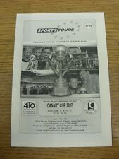 09/04/2007 Programme: Sports Tours - Canary Cup [At North Walsham] U8-U15 Tourna