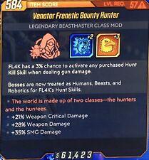 God Roll•57• Bounty Hunter •DAMAGE WEAPON SMG CRIT•FL4K MOD•Xbox•Borderlands 3