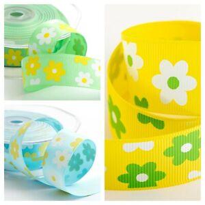 Daisy Grosgrain Ribbon 25mm Wide Flower Craft Green Yellow Blue Easter