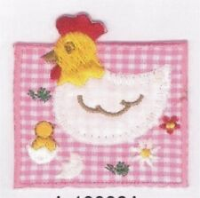 Pink Farm Chicken Chick Embroidery Patch Applique