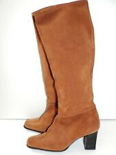 "Tall Delman Tan Suede Boots Unmarked Size Womens 7 Length 9.5"" Long Shoes"