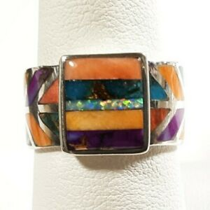 925 STERLING RECTANGLE SPINY OYSTER OPAL TURQUOISE /ACCENTS SIZE 7.75 RING 6.41G