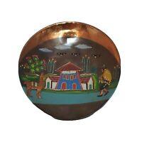 "Copper Wall Plaque Hanging Plate Carved Llama Alpaca Inca Peru Hand Painted 9"""