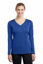 Womens Sport-Tek Dry Fit Long Sleeve V-Neck Moisture Wicking T-Shirt LST353LS