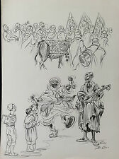 Benjamin Sarraillon Maghreb Tunisie fête musiciens lithographie monogramme B. S.