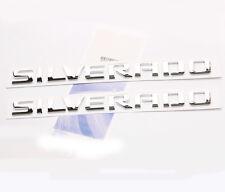 2x GENUINE SILVERADO Nameplate Emblems Badge 1500 2500HD Chery letter F2 Chrome