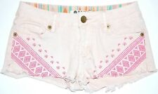 ROXY Embroidered Mini Shorts Juniors Sz 1 Pink Aztec Embroidery Geometric Fringe