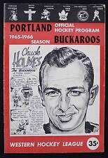 1965-66 Portland Buckaroos vs Baltimore Clippers Hockey -Prog.-WHL-CHUCK HOLMES