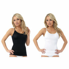 Belvia White Control Slip Seamless Slimming Shapewear Vest Cami Top S 8 10/12 38
