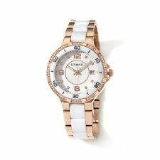 DRONE PRECISION TIMEPIECES WHITE CERAMIC STAINLESS STEEL ROSETONE WATCH HSN $200