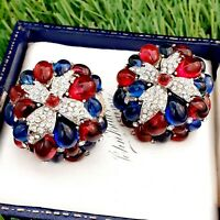 Vintage French Couture CARVEN Depose Poured Glass Clip on Earrings Needs TLC
