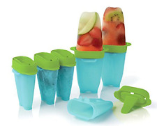 Tupperware Popsicle Ice Tups Set of 6 - Lollitups - Drip Catcher Bases! Blue New