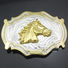 Horse Head Belt Buckle Line Dance Western Country Gold & Silver Cowboy Bridle