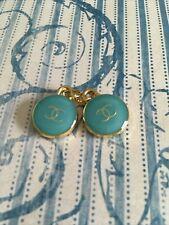 15mm enamel 2pc  gold tone Vintage Chanel  zipper button