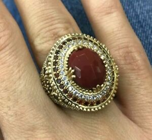 925 Sterling Silver Handmade Antique Turkish Agate Ladies Ring Size 6-12