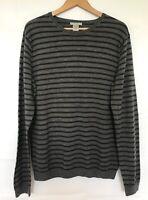 Mens Gap Jumper Size XL 100% Italian Merino Wool Grey Black Stripe Extra Large