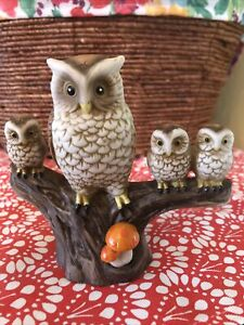 Vintage Owl Family With Polka Dot Orange Mushrooms Ceramic Figure On Stump Cute