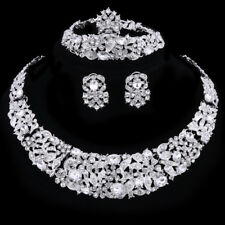 Women Silver Plated Clear Rhinestone Crystal Pendant Necklace Party Jewelry Set