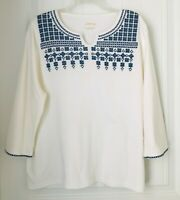 Orvis Womens XL White/Blue  Embroidered Trim Comfort Casual Shirt Top