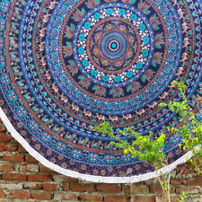 "80"" Blue Roundie Beach Throw Picnic Mat Spread Hippie Mandala Tapestry Bohemian"