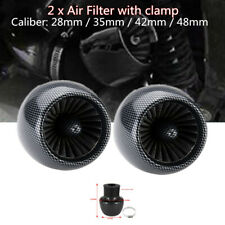 "2xMotorcycle Pipe ATV Air Intake Filter Carbon Fiber Style 1.1-1.9""Inlet Adapter"