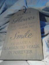 If I Had A Flower, Natural Wooden Sign Plaque Shabby Chic Wall Hanging Wood Gift
